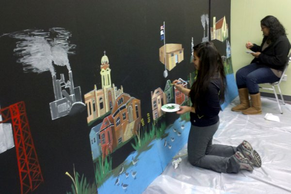 Throughout the year-long process of creating their community-wide exhibit, South Chicago youth and adults alike were challenged to reconnect with their inner artist and to convey their green stories in unique, powerful ways—as through this mural created by The Zone.