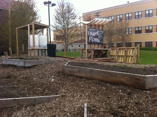 Fortunately, there are other Pilsen leaders working to develop similar nature-based play spaces for area youth. At Orozco Elementary School, teachers installed a community garden (pictured) to teach science through recreation.